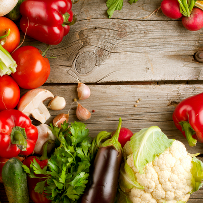 Healthy Organic Vegetables on a Wooden Background. Art Border Design